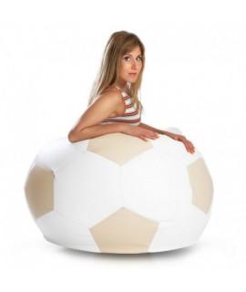 Sedací vak ECOPUF - FOOTBALL L - ekokoža E2 - Smotanovo biela