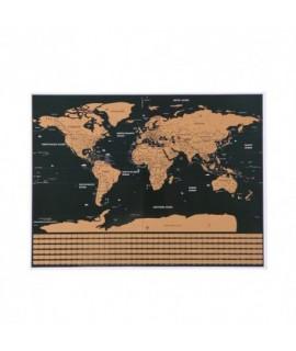 Stieracia mapa sveta s vlajkami + príslušenstvo