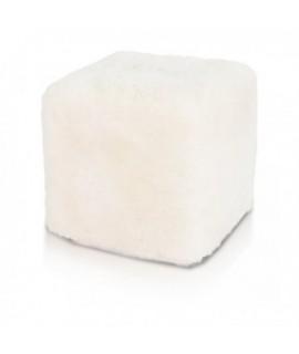 Taburetka ECOPUF - CUBE PREMIUM - ovčia vlna E1 - Biela